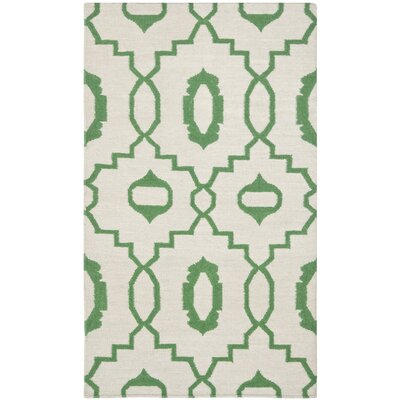 Dhurries Ivory/Green Area Rug Rug Size: Rectangle 3' x 5'