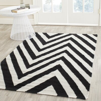 Dhurries Wool Hand-Woven Black/Ivory Area Rug Rug Size: Rectangle 8' x 10'