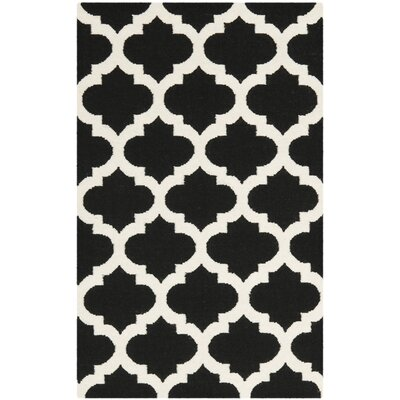 Dhurries Black & Ivory Area Rug Rug Size: Rectangle 4 x 6