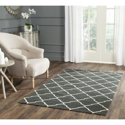 Dhurries Hand-Woven Wool Gray/Ivory Area Rug Rug Size: Rectangle 5 x 8