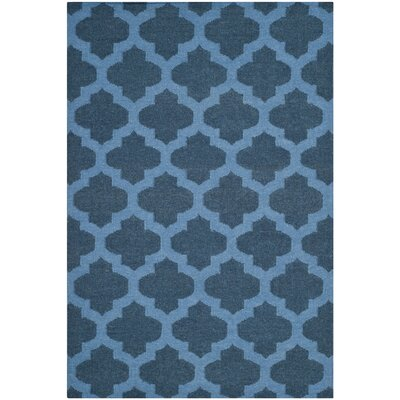 Dhurries Hand-Woven Wool Blue Area Rug Rug Size: Rectangle 4 x 6