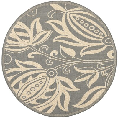 Courtyard Grey / Natural Indoor/Outdoor Rug Rug Size: Round 5'3