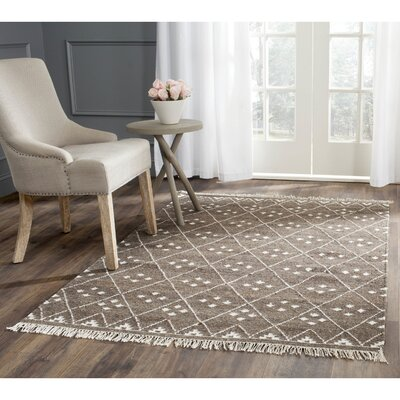 Natural Kilim Dhurrie Brown & Ivory Area Rug Rug Size: Square 5