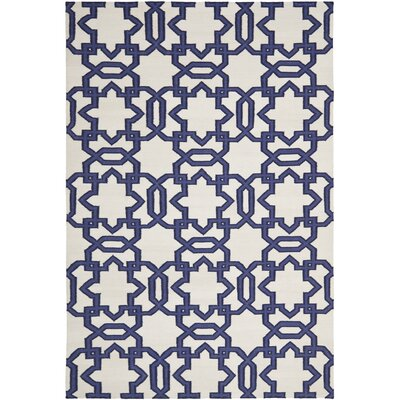 Dhurries Ivory/Purple Area Rug Rug Size: 5 x 8