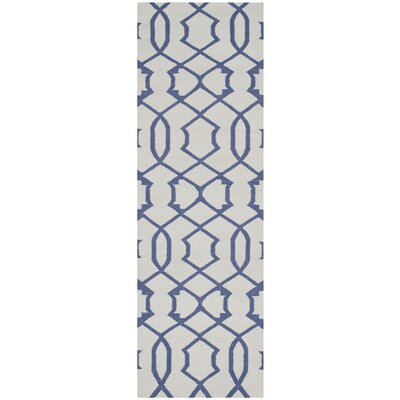 Dhurries Ivory/Purple Rug Rug Size: Runner 26 x 8