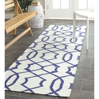 Margo Hand-Woven Wool Ivory/Purple Area Rug Rug Size: Runner 26 x 8