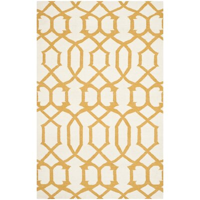Dhurries Ivory/Yellow Area Rug Rug Size: 3 x 5
