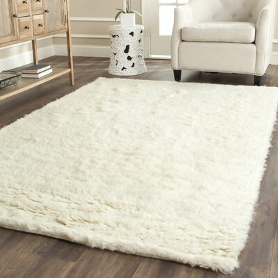 Flokati Hand-Tufted Wool Ivory Area Rug Rug Size: Rectangle 4 x 6
