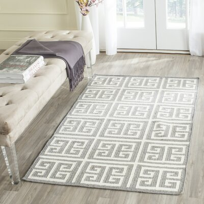 Dhurries Handmade Wool Gray/Ivory Area Rug Rug Size: Rectangle 4 x 6