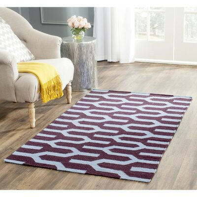 Dhurries Hand-Woven Wool Purple/Blue Area Rug Rug Size: Rectangle 26 x 4