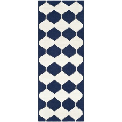 Dhurries Navy/Ivory Area Rug Rug Size: Runner 26 x 7