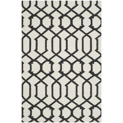 Dhurries Ivory/Charcoal Rug Rug Size: 5 x 8