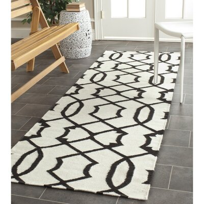Dhurries Wool Ivory/Charcoal Area Rug Rug Size: Runner 26 x 8