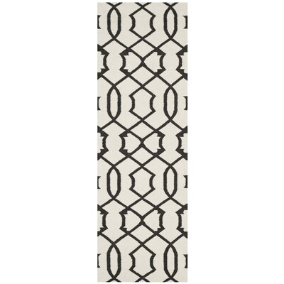 Dhurries Ivory/Charcoal Rug Rug Size: Runner 26 x 8