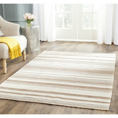 Dhurries Wool Natural/Camel Area Rug Rug Size: Rectangle 9 x 12