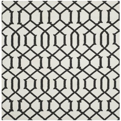 Dhurries Ivory/Charcoal Rug Rug Size: Square 6 x 6