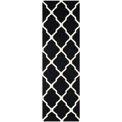 Dhurries Black/Ivory Area Rug Rug Size: Runner 26 x 12