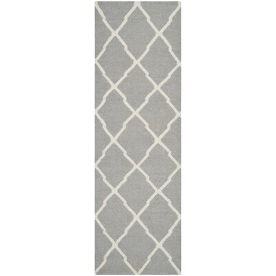 Dhurries Wool Gray/Ivory Area Rug Rug Size: Runner 2'6