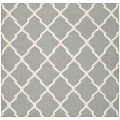 Dhurries Wool Gray/Ivory Area Rug Rug Size: Square 6