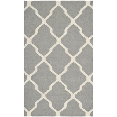 Dhurries Wool Gray/Ivory Area Rug Rug Size: Rectangle 4 x 6