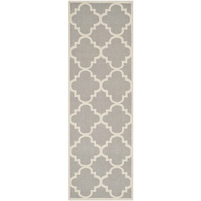 Dhurries Dark Grey/Ivory Area Rug Rug Size: Runner 26 x 14