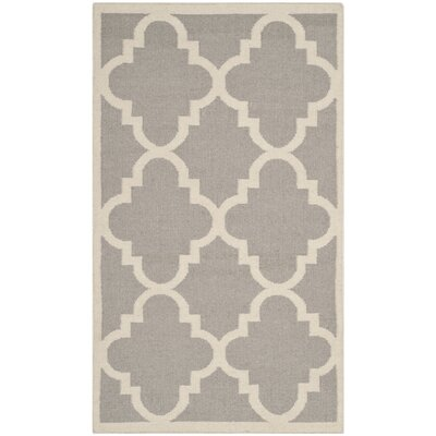 Dhurries Dark Grey/Ivory Area Rug Rug Size: Rectangle 4 x 6