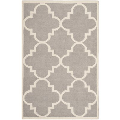 Dhurries Dark Grey/Ivory Area Rug Rug Size: Rectangle 6 x 9