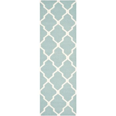 Dhurries Wool Light Blue/Ivory Area Rug Rug Size: Runner 26 x 8