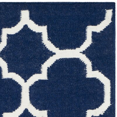 Dhurries Wool Navy/Ivory Area Rug Rug Size: Runner 26 x 7