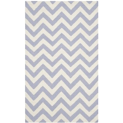 Dhurries Purple/Ivory Area Rug Rug Size: 6 x 9