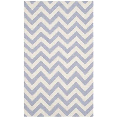 Dhurries Purple/Ivory Area Rug Rug Size: 26 x 4