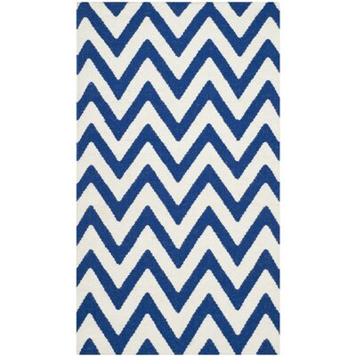 Dhurries Dark Blue/Ivory Area Rug Rug Size: 10 x 14