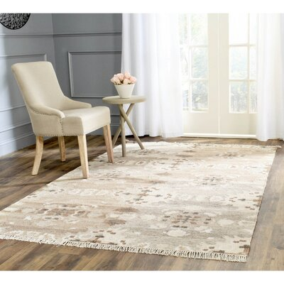 Natural Kilim Dhurrie White Area Rug Rug Size: Square 5