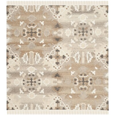 Natural Kilim Dhurrie White Area Rug Rug Size: Square 5'