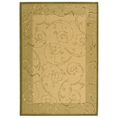 Courtyard Natural/Olive Outdoor Rug Rug Size: 4' x 5'7