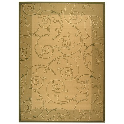Courtyard Natural/Olive Outdoor Rug Rug Size: 2' x 3'7