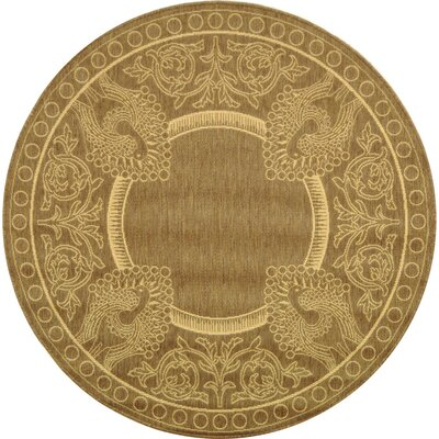 Courtyard Brown/Natural Rug Rug Size: Round 5'3