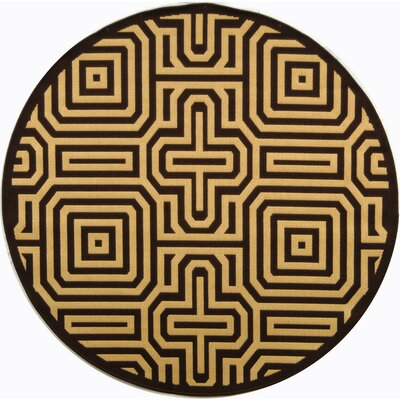 Courtyard Chocolate/Natural Outdoor Rug Rug Size: Round 5'3