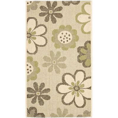Courtyard Natural Brown/Olive Outdoor Rug Rug Size: 2' x 3'7