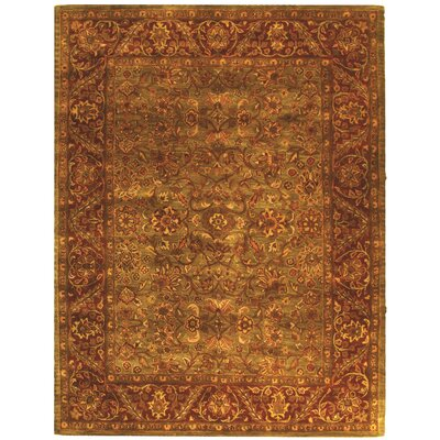 Jaipur Hand-Tufted Wool Green/Rust Area Rug Rug Size: 11 x 17