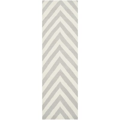 Dhurries Wool Gray/Ivory Area Rug Rug Size: Runner 26 x 6