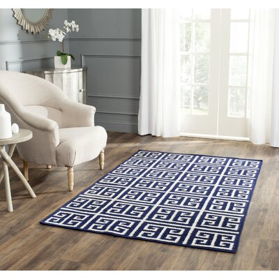 Dhurries Hand-Woven Wool Navy/Ivory Area Rug Rug Size: Square 7