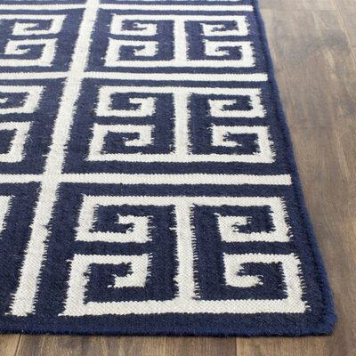 Dhurries Hand-Woven Wool Navy/Ivory Area Rug Rug Size: Runner 26 x 7