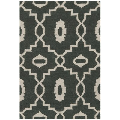 Dhurries Green/Ivory Area Rug Rug Size: Rectangle 5 x 8
