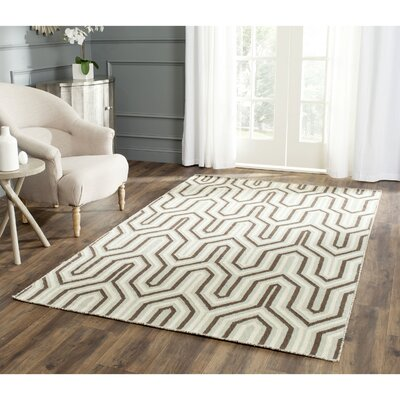 Dhurries Hand-Woven Wool Brown/Green/Beige Area Rug Rug Size: Rectangle 8 x 10