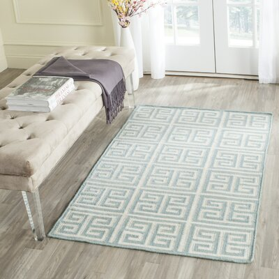 Dhurries Hand-Woven Wool Blue/Ivory Area Rug Rug Size: Rectangle 9 x 12