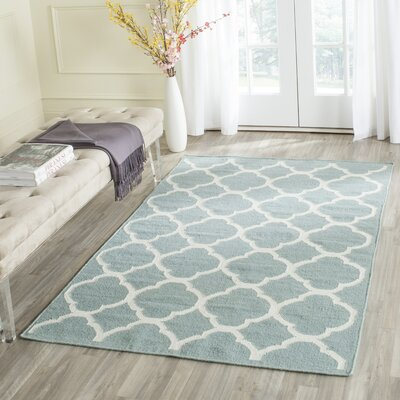 Dhurries Hand-Woven Wool Blue/Ivory Area Rug Rug Size: Rectangle 10 x 14