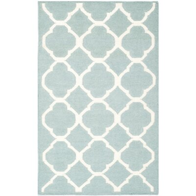 Dhurries Blue/Ivory Area Rug Rug Size: 26 x 4