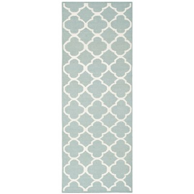 Dhurries Hand-Woven Wool Blue/Ivory Area Rug Rug Size: Runner 26 x 9