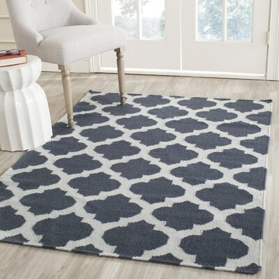 Dhurries Hand-Woven Wool Blue/Ivory Area Rug Rug Size: Rectangle 6 x 9